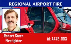 Firefighter ID badge, red truck modern #4.