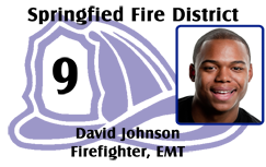 Firefighter ID badge, helmet.