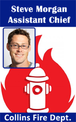 Firefighter ID badge, red fire hydrant, flame.