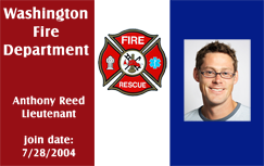 Firefighter ID badge, red blue.