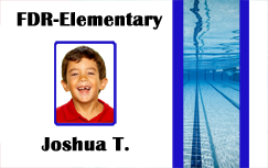 Swim team id badge, Horizontal layout.