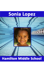Swim team id badge #2, Vertical layout.