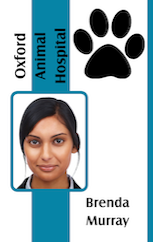 Veterinarian ID badge with pawn green vertical