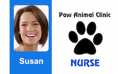 Veterinarian ID badge with pawn horizontal