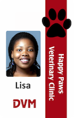 Veterinarian ID badge with pawn vertical red